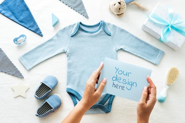 Baby boy greeting card Premium Psd