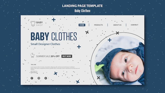 Шаблон целевой страницы детской одежды Бесплатные Psd
