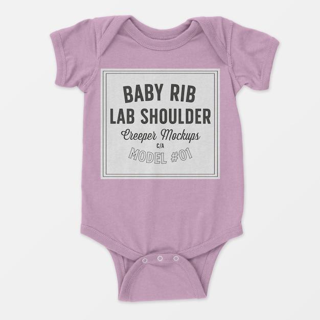 Baby rib lap shoulder creeper mockup Free Psd