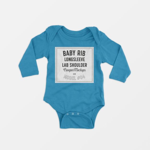 Baby rib longsleeve lap shoulder creeper mockup 04 Free Psd