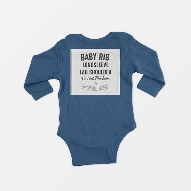 Baby rib longsleeve lap shoulder creeper mockup 07 Free Psd