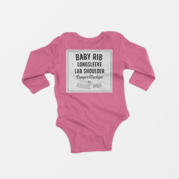Baby rib longsleeve lap shoulder creeper mockup Free Psd