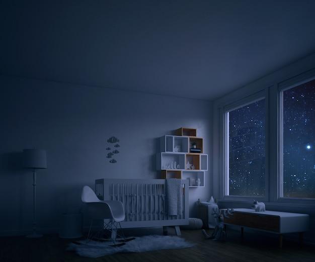 Camera per bambini con culla bianca di notte Psd Gratuite