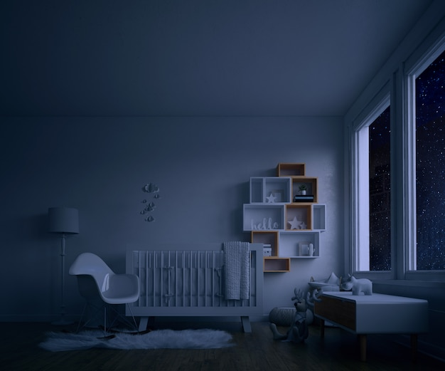 Baby's room with white crib at night Free Psd