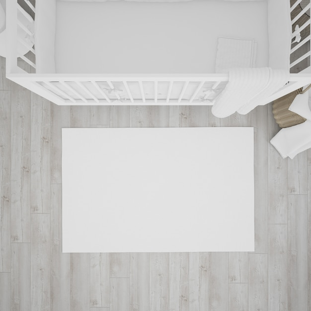 Baby's room with white crib Free Psd