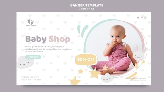 Baby shop banner template Free Psd