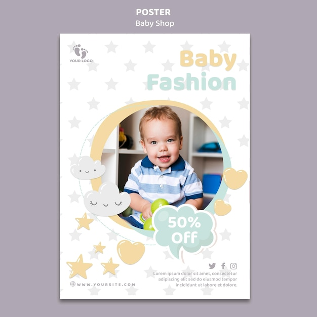 Modello di poster del negozio di bambini Psd Gratuite