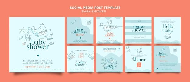 ベビーシャワーのお祝いのソーシャルメディアの投稿 Premium Psd