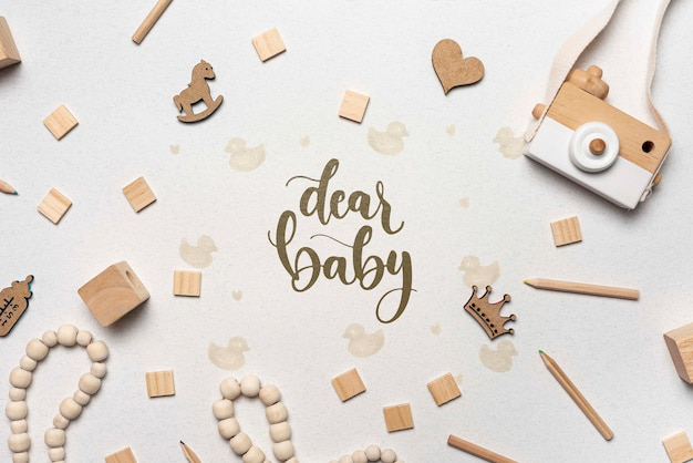 Baby shower decorations with camera Premium Psd
