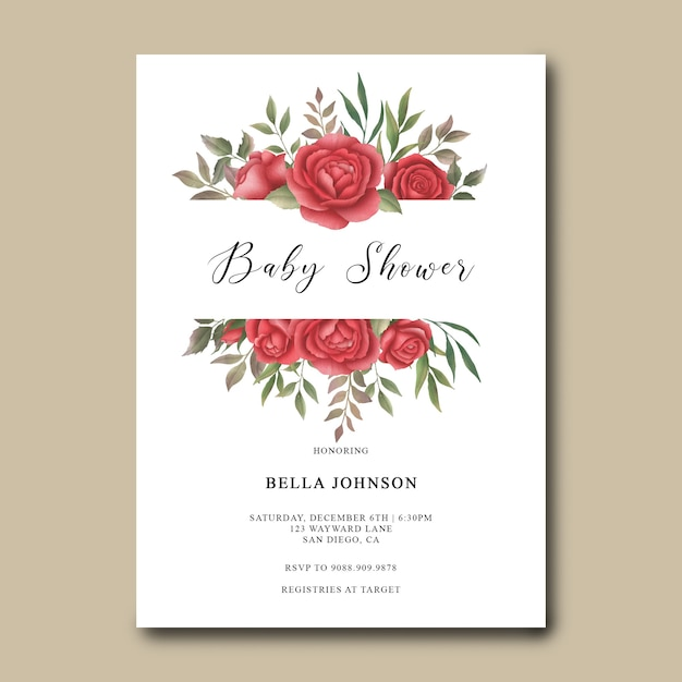 Baby shower invitation template with watercolor roses decoration Premium Psd