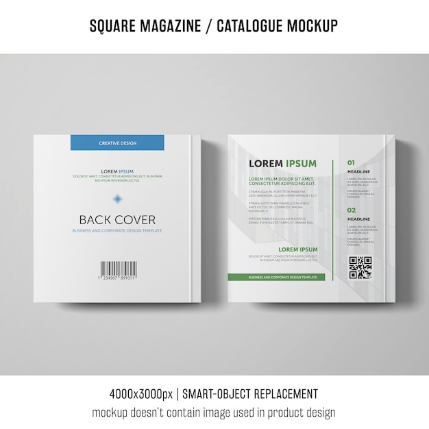 Back cover square magazine or catalogue mockup Free Psd