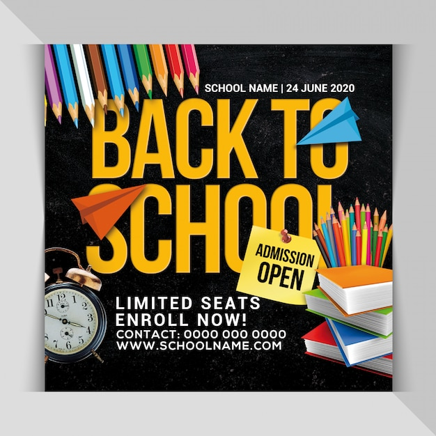 Back to school admission banner template Premium Psd