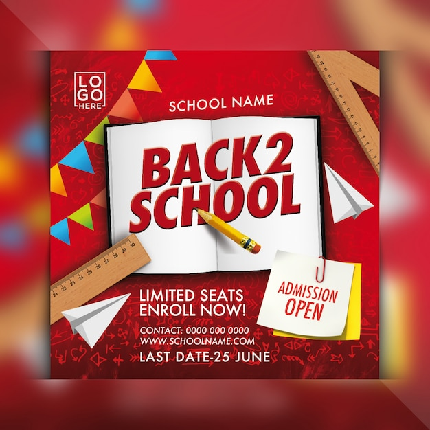 Back to school admission flyer Premium Psd