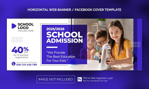 Back to school admission horizontal banner or facebook cover advertising template