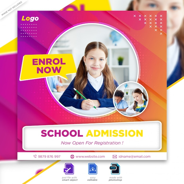 Back to school admission marketing social media post or square flyer template premium psd Premium Ps