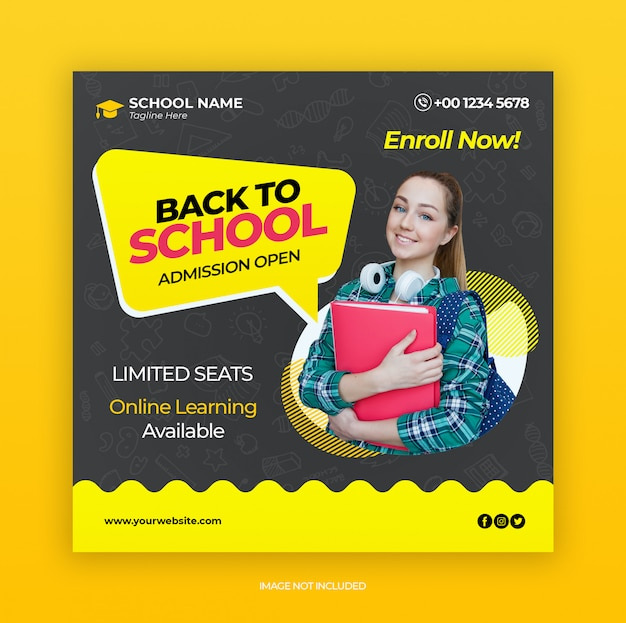 Back to school admission marketing template for social media post Premium Psd