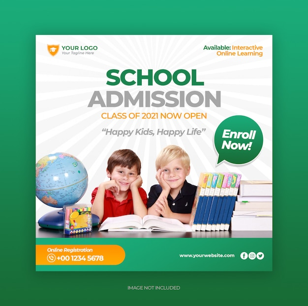 Back to school admission promotion for social media post banner template Premium Psd