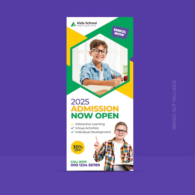 Back to school admission roll up banner template