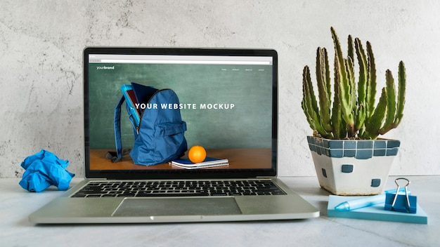 Back to school arrangement with website mock-up Free Psd