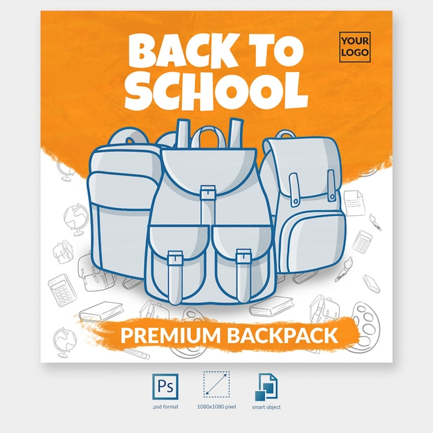 Back to school backpack offer social media post template Premium Psd