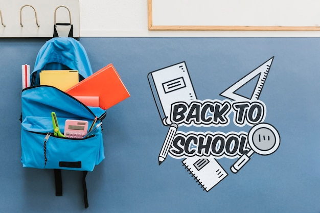 Back to school bag full of supplies Free Psd
