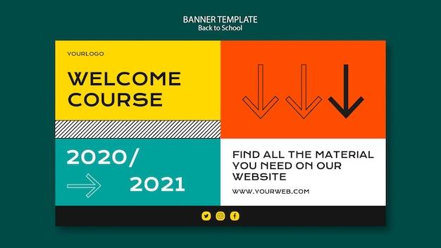 Torna a scuola modello di banner design Psd Gratuite