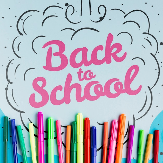 Back to school concept with colourful markers Free Psd