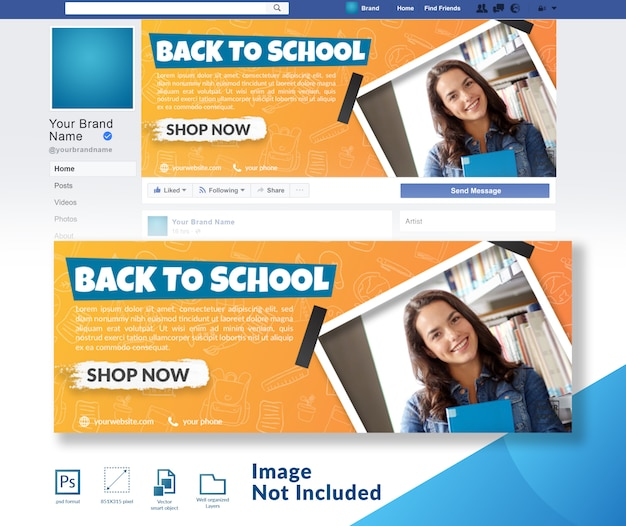 Back to school discount offer social media cover template Premium Psd