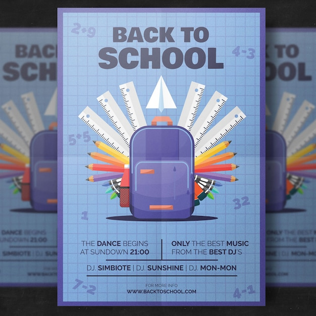 Back to school flyer template Free Psd