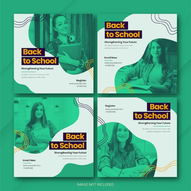 Back to school instagram post bundle template Premium Psd