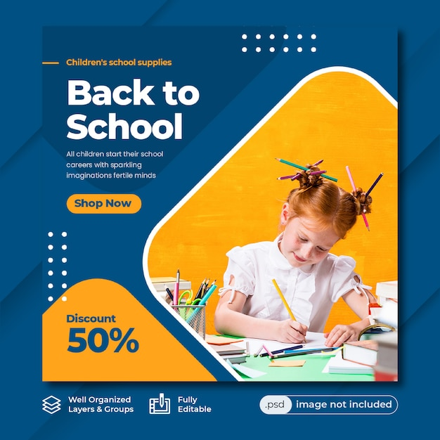 Back to school instagram post template Premium Psd