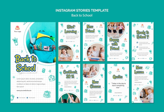 Back to school instagram stories template Free Psd