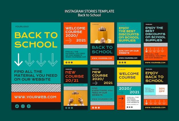 Torna a storie di instagram di scuola Psd Gratuite