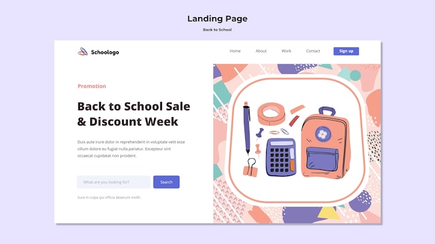 Back to school landing page Free Psd