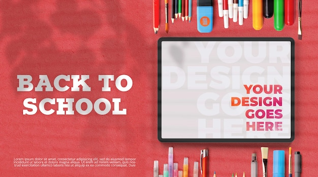 Back to school mockup with school supplies and tablet Premium Psd