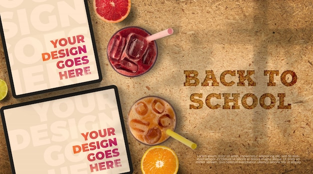 Back to school mockup with tablets and juices Premium Psd