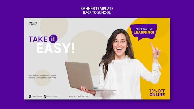 Back to school online banner template Free Psd