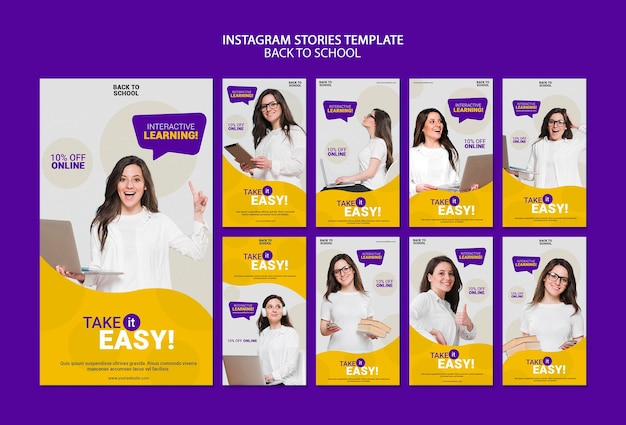 Back to school online instagram stories template Free Psd