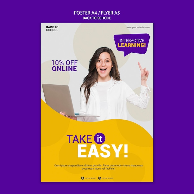 Back to school online poster template Free Psd