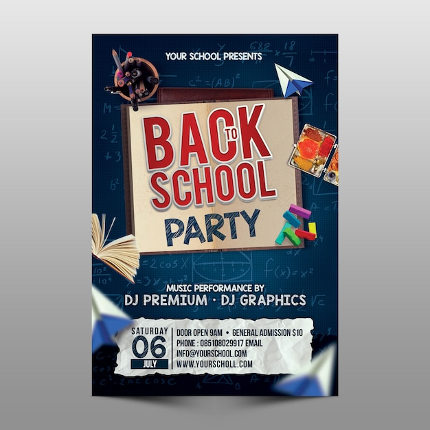 Back to school party flyer template PSD file | Premium Download