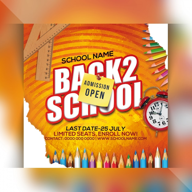 Back to school party flyer Premium Psd