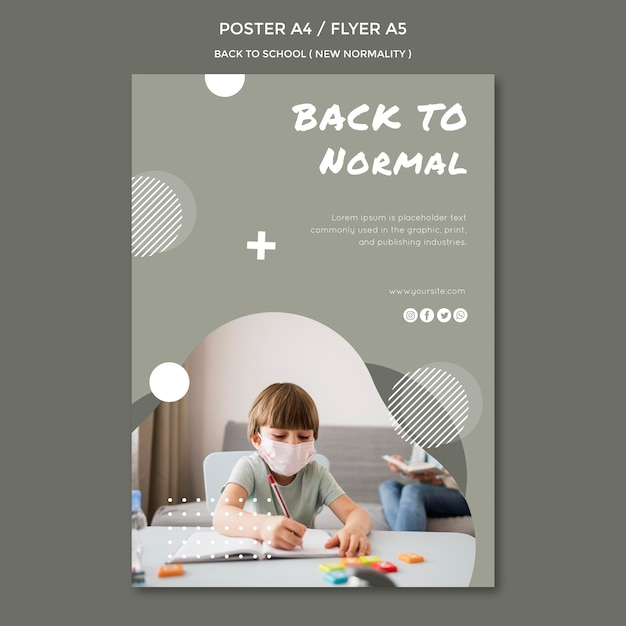 Back to school poster style Free Psd
