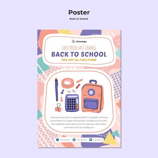 Back to school poster Free Psd