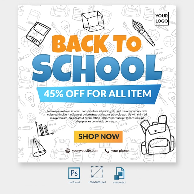 Back to school sale special offer with element social media post template Premium Psd