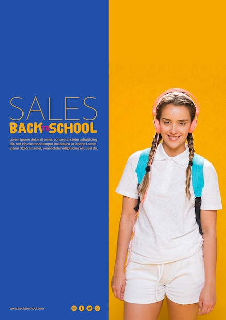 Back to school sales poster with teenager girl Free Psd