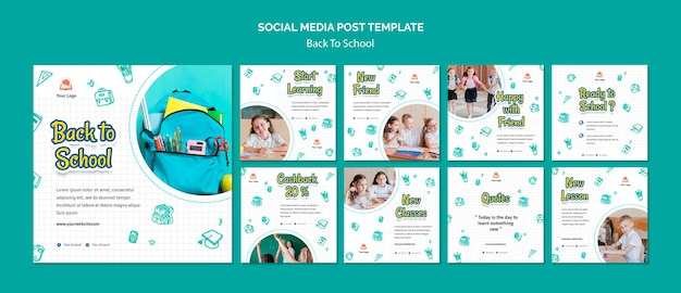 Back to school social media post template Free Psd