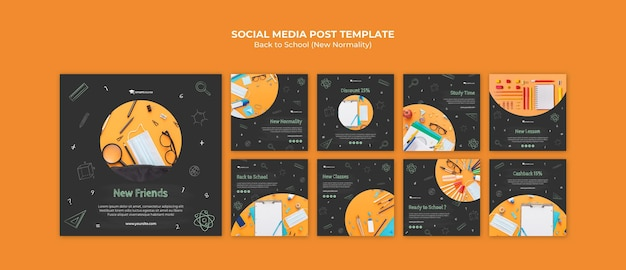 Back to school social media posts Free Psd