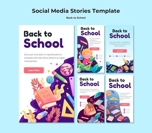 Back to school social media stories template Premium Psd