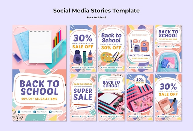 Ritorno a scuola storie di social media Psd Gratuite