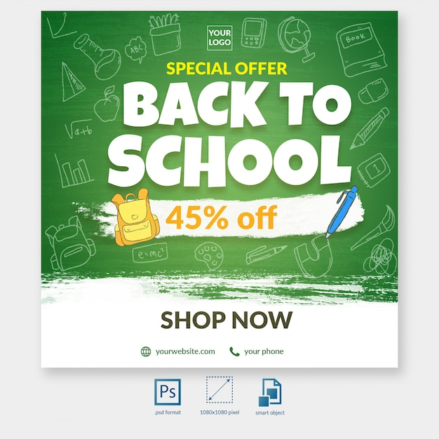 Back to school special discount offer social media post template Premium Psd